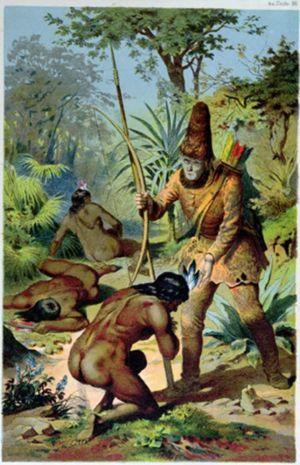 Robinson Crusoe och Fredag, målning av den tyske konstnären Carl Offterdinger.