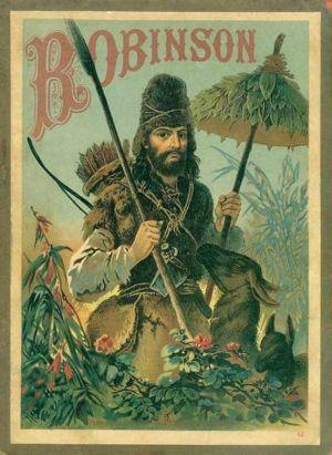 Teckning från år 1887 av Carl Offerdinger som föreställer Robinson Crusoe.