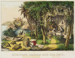 En teckning från år 1874 som föreställer Robinson Crusoe och hans husdjur.