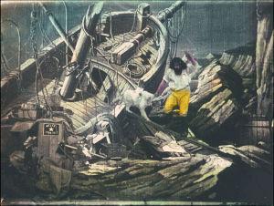 En bild ur Georges Méliès filmatisering av Robinson Crusoe från år 1902.