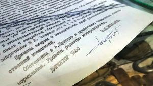 Viktor Bryukhanovin allekirjoittama raportti onnettomuudesta