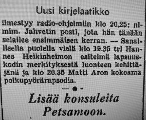 Ilmoitus Jahvetin kirjelaatikon alkamisesta 23.8.1940.