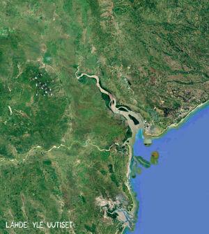 Satelliittikuvaan pohjautuva kuva alueesta ennen Idai-hirmumyrskyn seurauksena syntyneitä tulvia.