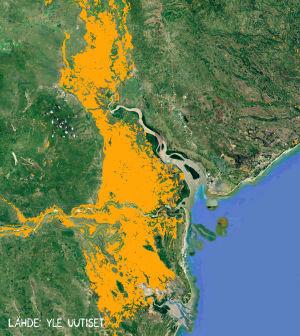 Satelliittikuvaan pohjautuva kuva Idai-hirmumyrskyn seurauksena syntyneistä tulva-alueista Mosambikissa.