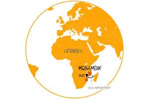 Karttapallo, jossa näkyy Mosambik ja Buzin kylä sekä Idai-hirmumyrsky.