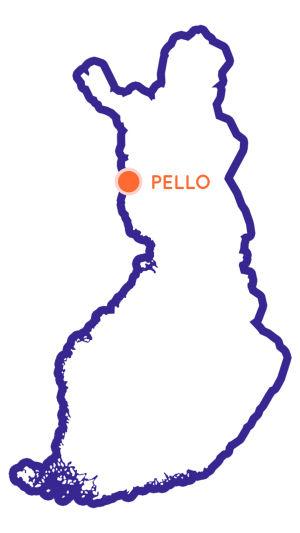 Suomen kartta johon merkitty Pellon paikkakunta