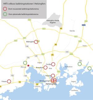 Karta på nuvarande och planerade laddningsstationer för elbussar.