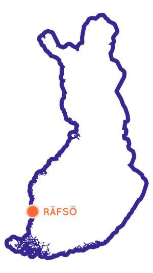 Bild av Finlands karta, med Räfsö utmärkt.