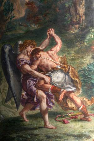 Målningen Jakob brottas med ängeln av Eugène Delacroix.