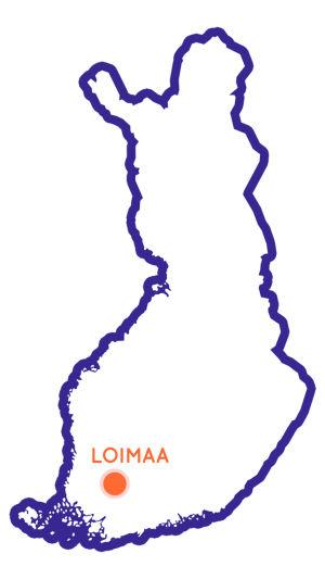 Suomen kartta johon merkitty Loimaan paikkakunta