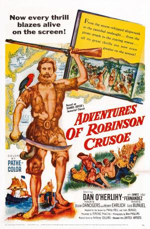 Affisch för filmatisering av Robinson Crusoe från år 1954.