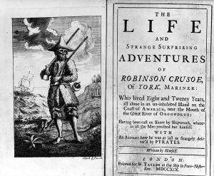 """Första upplagan av Daniel Defoes bok """"Robinson Crusoe"""" från år 1719."""