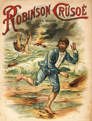 En affisch som föreställer Robinson Crusoe.