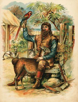 Illustration av Robinson Crusoe ur en fransk upplaga, okänd konstnär.