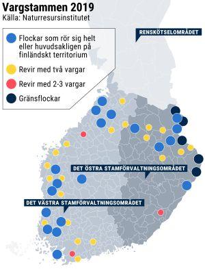 Karta över vargstammen i Finland våren 2019.
