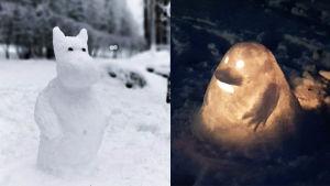 Muumipeikko ja Mörkö lumihahmoina.