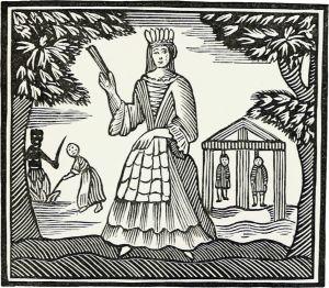 En illustration av Moll Flanders ur en utgåva från 1700-talet.