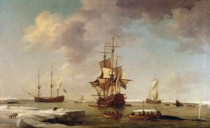 Marinmålning av den brittiska målaren Charles Brooking.