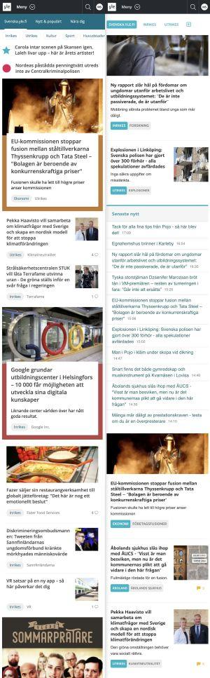 Skärmdump av svenska.yle.fi före och efter uppdateringen 2019