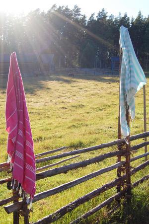 Juhan ja Matin pyyhkeet roikkuvat kuivumassa seipäiden nokassa.