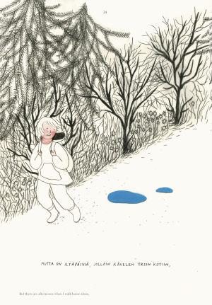 Piirros Aino Louhen Mielikuvitustyttö-sarjakuvateoksesta. Tyttö kävelee polulla reppuselässä.