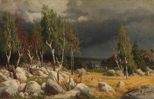 Fanny Churberg:  Kaski, maisema Uudeltamaalta; maalaus vuodelta 1872