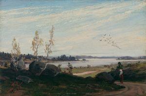 Syysmaisemassa järven päällä muuttolintuja teoksessa Fanny Churberg: muuttolinnut
