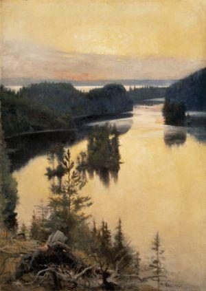 Albert Edelfelt: Kaukolanharju auringonlaskun aikaan