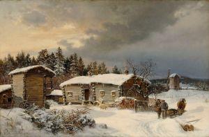 Hjalmar Munsterhjelm: Hämäläistalo talvella, 1866