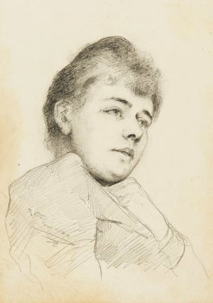 Kaarlo Vuoren piirros nuoresta laulajatar Maikki Pakarisesta 1891.