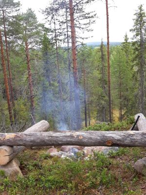 Lägerplats. Lea och Esko Paso, Kuusamo.