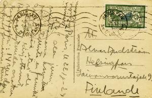 Uuno Klamin kortti Pariisista 1924-1925.