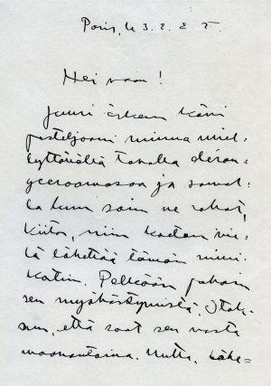 Uuno Klamin kirje Pariisista 1924-1925.
