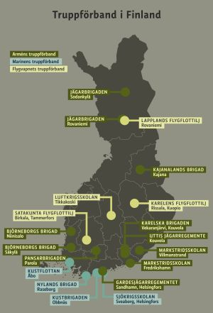 Karta över truppförband i Finland