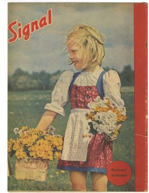 Kuva Signaalin takakannesta, jossa tyttö kerää kukkia.