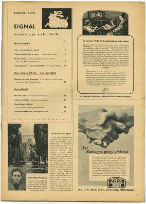 Kuva Signaalin sisällysluettelosta 1944.