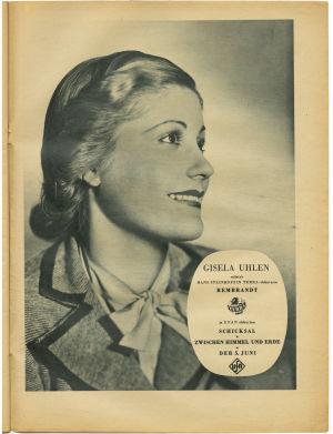 Kuva näyttelijä Gisela Uhlenista Signaali-lehdessä.
