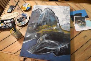 En halvfärdig målning.