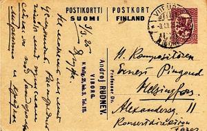 Andrej Rudnevin kortti Ernest Pingoud'lle.