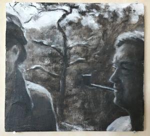 målning i nästan svartvit skala av en man och en kvinna med mycket tomrum emellan, ingendera syns helt och hållet
