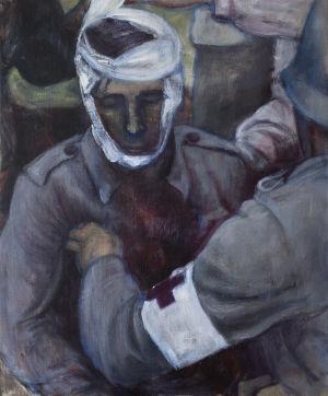 målning av soldat i grå uniform med bandage runt huvudet