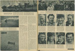 """Aukeama, jossa näkyy yhdysvaltalaisia merimiehiä. Artikkelin nimi on """"Pelastetut!"""""""
