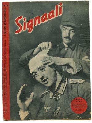 Signaali kansi vuodelta 1942, jossa sidotaan haavoittuneen sotilaan päätä.