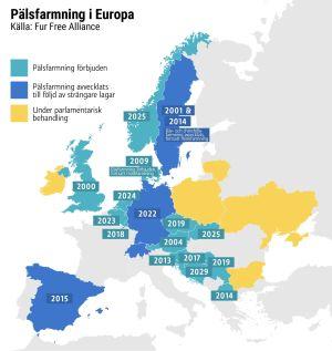 Karta över pälsfarmning i Europa.