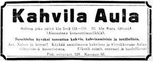 Kahvila Aulan mainos Karjala-lehdessä.