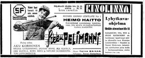 Pikku Pelimanni -elokuvan mainos.