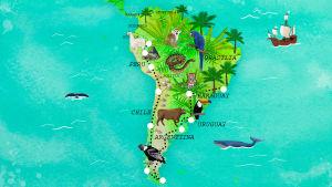 Etelä-Amerikan kartta, piirroskuva, jossa käärmeitä, lintuja ja valaita