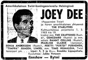 Ilmoitus Joey Dee and The Starlitersin konsertista Kulttuuritalolla Helsingin Sanomissa 1963.