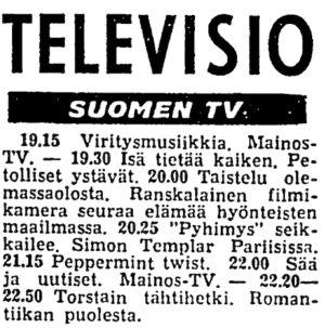 Suomen tv:n päivän ohjelma Helsingin Sanomissa 8.8.1963, ohjelmassa mukana Peppermint Twist.
