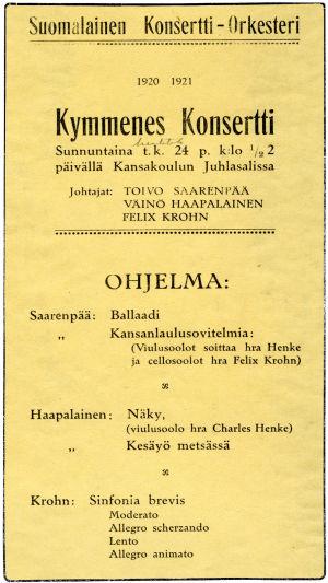 Suomalaisen Konsertti-Orkesterin 10. konsertti huhtikuussa 1921.
